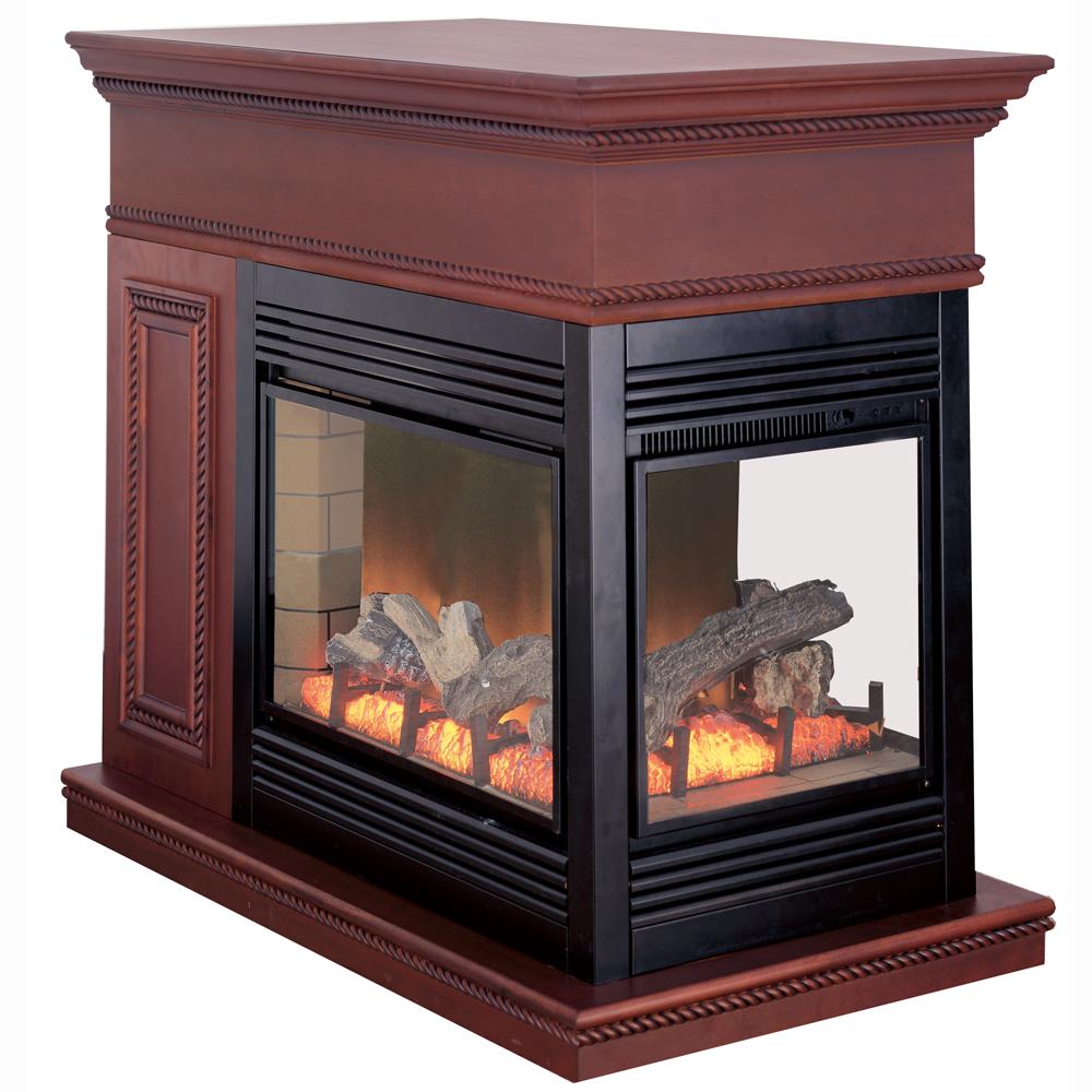 Procom Full Size Electric Peninsula Fireplace With Remote Control Coffee Glaze Finish Model