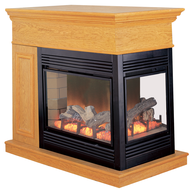 Electric Peninsula Fireplace With Remote Control - Oak Finish, Model# SPE28RE-O