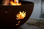 Fire Pit Art Tropical Moon Fire Pit details of a palm tree