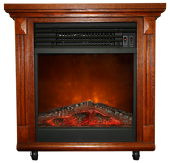 "20"" Compact Oak Electric Fireplace With Caster Wheels"