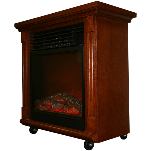 """20"""" Compact Oak Electric Fireplace With Caster Wheels - Gas & Electric Fireplaces - Factory Buys Direct"""
