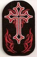 "Cross With Red Flames Patch 2.5"" X 4"""