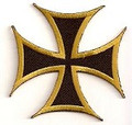 Iron Cross Patch with Bronze Outline  Biker Patch