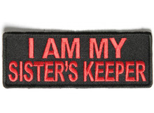 I Am My Sister's Keeper in red Biker Patch
