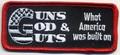 Christian Biker PatchesGuns God & Guts What America Was Built On Patch 3.5 x 1.5