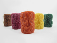 Beeswax Solid Leaf Pillar Candles in Assorted Colors