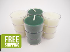 12 Beeswax Tea Light Candles in Green and Ivory