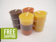 12 Beeswax Tea Light Candles in Natural, Brown and Pumpkin