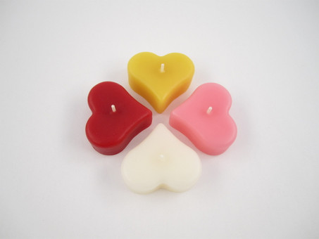 Beeswax Floating Heart Candles in Assorted Colors