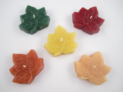 Beeswax Floating Fall Leaf Candles in Assorted Colors