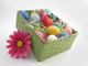 Beeswax Easter Egg Votive Candles in a Basket