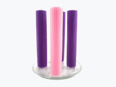 Beeswax Advent Column Candles in Purple and Pink