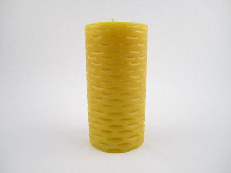 "3"" x 5"" Beeswax Solid Basketweave Pillar Candle in Natural"