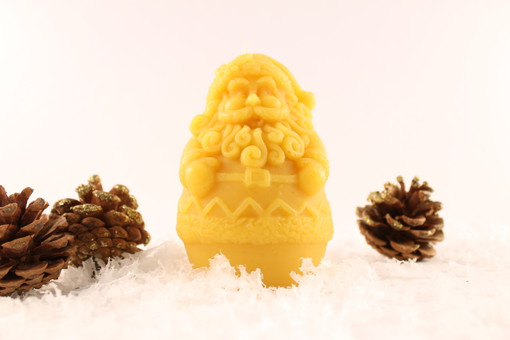 Beeswax Solid Santa Pillar Candle in Natural