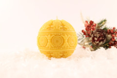 Beeswax Solid Christmas Ornament Pillar Candle in Natural