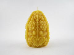 Beeswax Solid Detailed Egg Pillar Candle in Natural