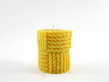 Beeswax Solid Twisted Rope Pillar Candle in Natural