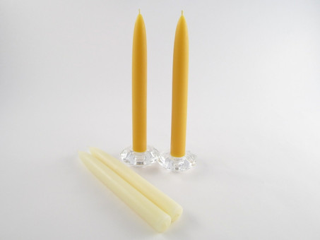 2 Beeswax Solid Taper Candles in Natural and Ivory