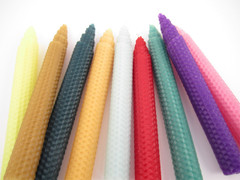 Beeswax Tapered Taper Candles in Assorted Colors
