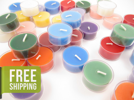 Beeswax Tea Light Candles in Assorted Colors - Plastic Cups