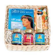 Gift Basket with Rest & Relax CD, Wai Lana bar of your choice, Ayurveda Digestive Fire (Trikatu), Ayurveda Energy Balance (Ashwagandha), Ayurveda Rejuvenate (Shilajit)