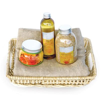 Bamboo Towel Set & Yogaroma™ Bath Oil, Bath Salts & Body Scrub