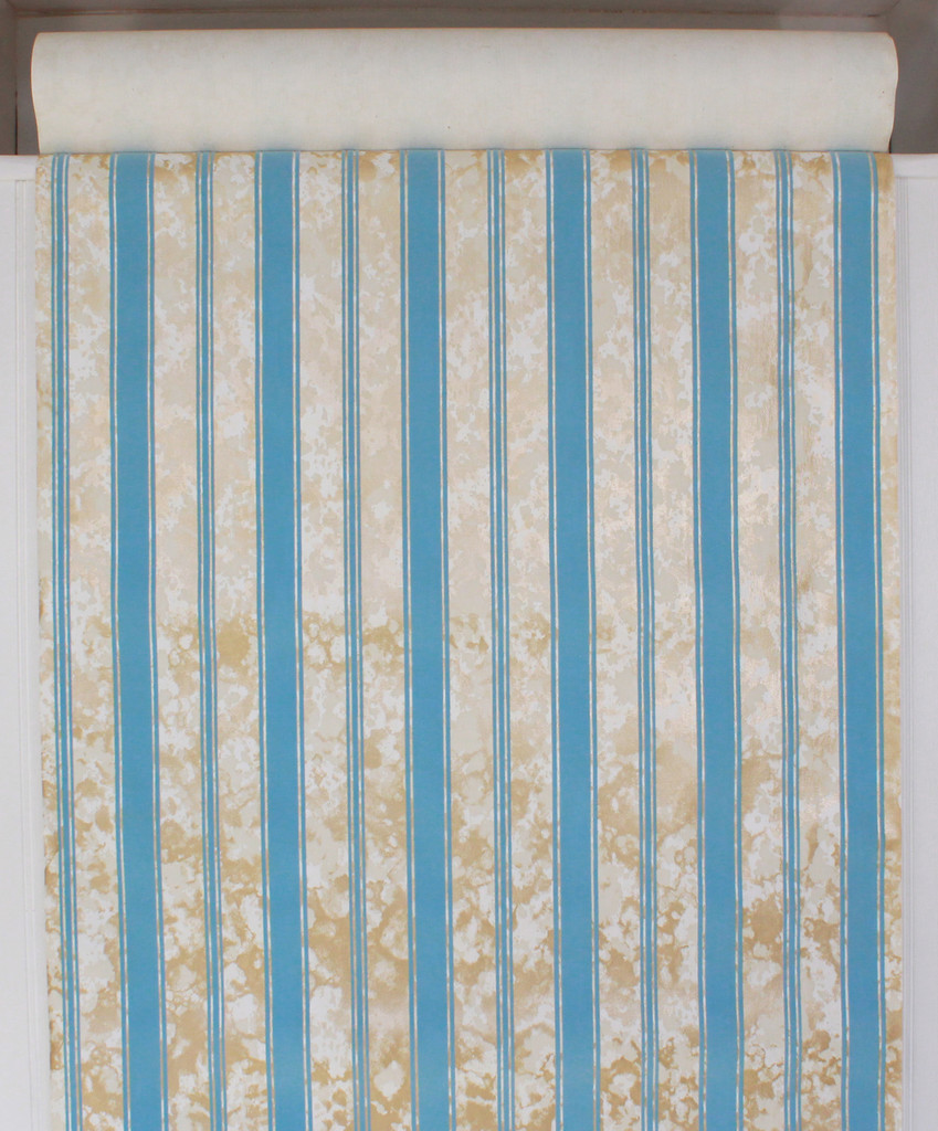 1970s Vintage Wallpaper Flocked Blue Stripe