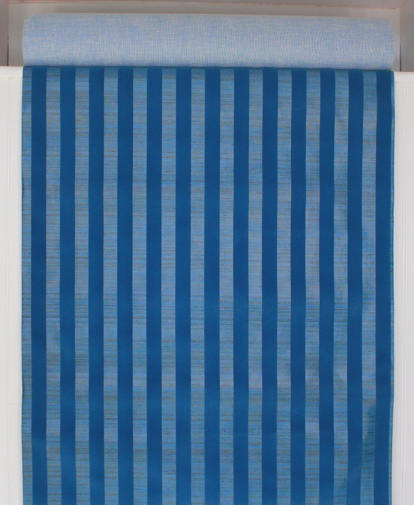 1970s Vintage Wallpaper Blue Flocked Stripe