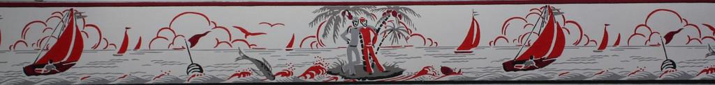 Duro Vintage Wallpaper Border Islands and Sailboats