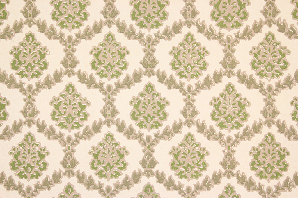 1970s vintage wallpaper green and gray geometric