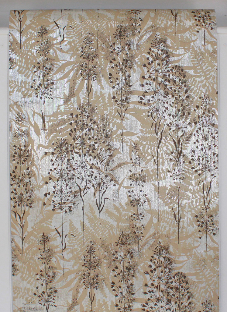 1970s Vintage Wallpaper Brown and Beige Flowers on Foil
