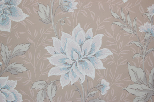1940s Vintage Wallpaper Blue and Pink Flowers on Beige
