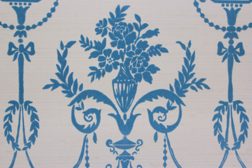 1970s Vintage Wallpaper Blue Flocked Victorian Design