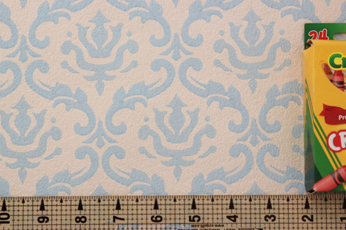 1960s Vintage Wallpaper Damask Design Blue on White