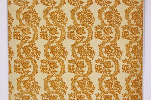 1970s Vintage Wallpaper Gold Flocked Damask