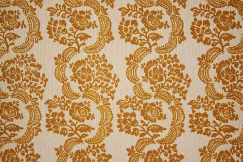1970s Vintage Wallpaper Gold Flocked Damask