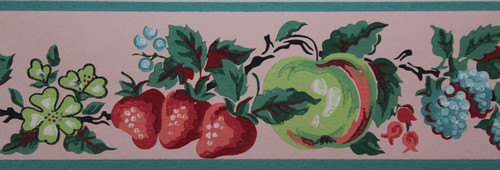 Imperial Vintage Wallpaper Border Fruit Pink
