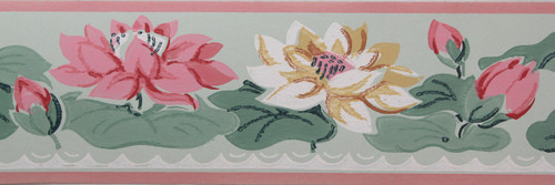 Imperial Vintage Wallpaper Border Water Lily on Green