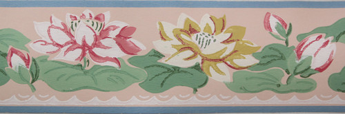 Imperial Vintage Wallpaper Border Water Lily on Pink