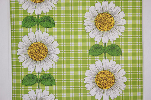 1970s Vintage Wallpaper Sunflowers on Green Plaid Vinyl