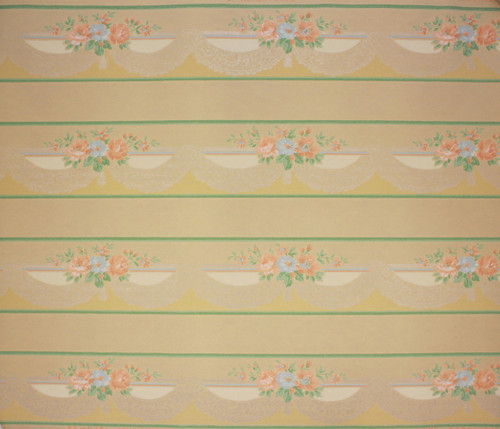 1940s Vintage Wallpaper Border Peach and Blue Flowers Lace Swag