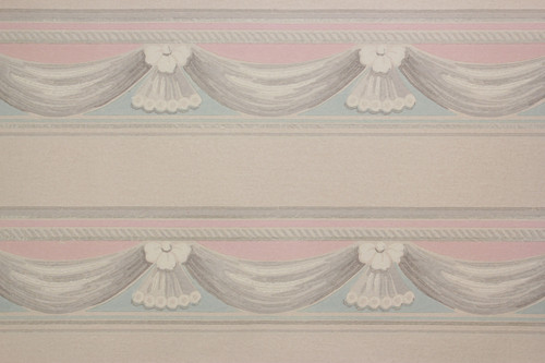 1940s Vintage Wallpaper Border Pink Blue Swag