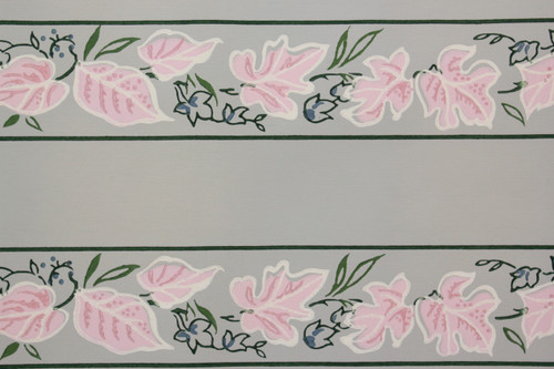 1940s Vintage Wallpaper Border Pink Leaves