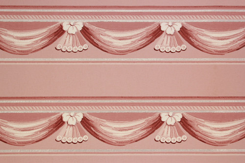 1940s Vintage Wallpaper Border Pink Swag