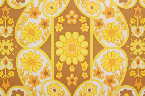 1970s Vintage Wallpaper Retro Mod Yellow Flowers
