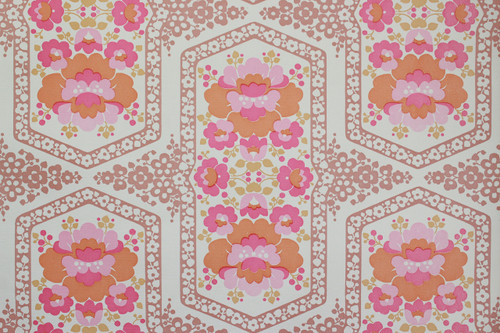 1970s Vintage Wallpaper Retro Pink and Orange Flowers Vinyl