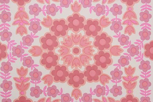 1970s Vintage Wallpaper Retro Pink Geometric Floral