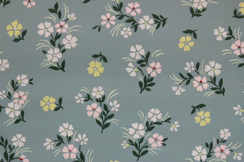 1940s Vintage Wallpaper Small Flowers on Blue