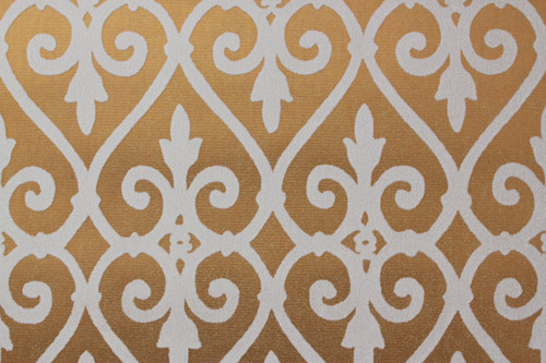1970s Vintage Wallpaper White and Gold Flocked Damask Design
