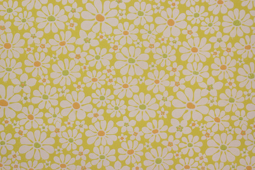 1970s Vintage Wallpaper White Daisies on Yellow Bright Centers